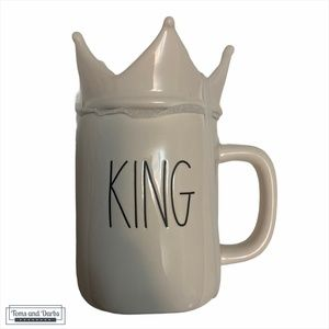 Rae Dunn KING Mug in White with Crown Lid